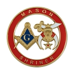 Mason Shriner Masonic Auto Emblem - [Red & Gold][3'' Diameter]