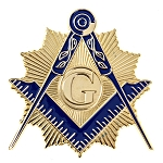 Shining Square & Compass Masonic Auto Emblem - [Gold & Blue][3'' Tall]