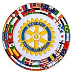 Rotary International with Flags Fraternal Auto Emblem - [Multicolored][3'' Diameter]