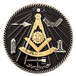 Past Master with Square & Quadrant and Working Tools Masonic Auto Emblem - [Black & Gold][3 3/8'' Diameter]