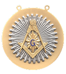 Square & Compass Sunburst Blue Lodge Masonic Pendant - [Silver] - RBL-109