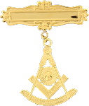 Past Master with Square Miniature Blue Lodge Masonic Officer Breast Jewel - [Gold] - RBL-164