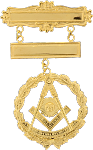 Past Master with Square Miniature Grand Lodge Masonic Officer Breast Jewel - [Gold] - RBL-167