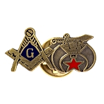 Square & Compass and Shriner Masonic Lapel Pin - [1'' Wide]