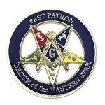 Past Patron Order of the Eastern Star Round Masonic Lapel Pin - [Blue & Gold][1 1/4'' Diameter]