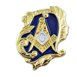Decorative Square & Compass Masonic Lapel Pin - [Blue & Gold][1'' Tall]