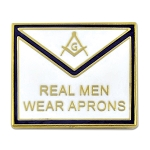 Real Men Wear Aprons Square & Compass Masonic Lapel Pin - [White & Blue][1'' Wide]