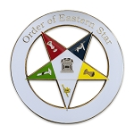 Simple Order of the Eastern Star White Round Masonic Auto Emblem - 3'' Diameter