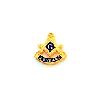 25 Years Square & Compass Masonic Tie Tac - HOM7151T