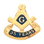 50 Years Square & Compass Masonic Tie Tac - HOM7152-35T