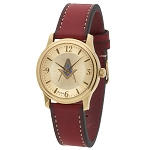 Bulova Square & Compass Gold Leather Watch MSW102(Red)