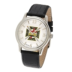 Bulova Knights Templar Silver Leather Watch MSW262