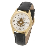Bulova Shining Past Master with Square Gold Leather Watch MSW310(Black)