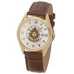 Bulova Shining Past Master with Square Gold Leather Watch MSW310(Cognac)