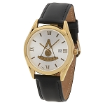Bulova Past Master Gold Leather Watch MSW313(Black)