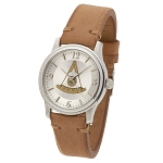Bulova Past Master Silver Leather Watch MSW314(Tan)