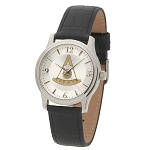 Bulova Past Master Silver Leather Watch MSW314