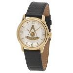 Bulova Past Master Gold Leather Watch MSW315