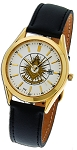 Bulova Past Master Gold Leather Watch MSW72