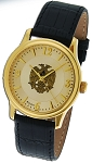 Bulova 32nd Degree Double Headed Eagle Scottish Rite Gold Leather Watch MSW115