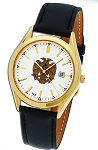 Bulova 32nd Degree Double Headed Eagle Scottish Rite Gold Leather Watch MSW79