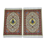 Square & Compass Beige Tapestry Two Coaster Set - 6