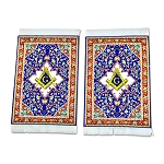 Square & Compass Blue Tapestry Two Coaster Set - 6