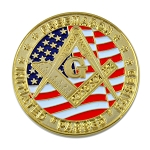 California Freemason Faith Hope Charity Masonic Coin - [Red & Gold][1 1/2'' Diameter]