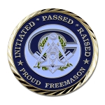 Master Mason Faith Hope Charity Proud Freemason Masonic Coin - [Blue & White][1 3/4'' Diameter]