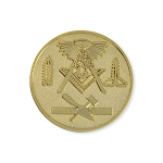 All Seeing Eye Square & Compass Working Tools Masonic Coin - [Gold][1 1/4'' Diameter]