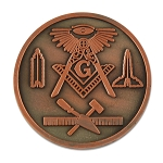All Seeing Eye Square & Compass Working Tools Masonic Coin - [Copper][1 1/4'' Diameter]