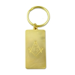 Engraved Square & Compass Masonic Key Chain - [Gold][2'' Tall]
