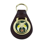 Shriner Black Leather Medallion Masonic Key Chain - [Green & Gold][3 3/8'' Tall]