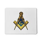 Blue & Gold Square & Compass Mouse Pad