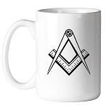 Clean Square & Compass Masonic Coffee Mug - [11 oz.]