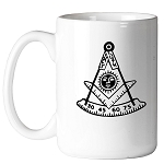 Past Master with Square & Protractor Masonic Coffee Mug - [11 oz.]