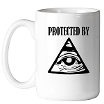 Protected by All Seeing Eye Masonic Coffee Mug - [11 oz.]
