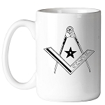 Star Square & Compass Masonic Coffee Mug - [11 oz.]