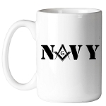 United States Navy Square & Compass Masonic Coffee Mug - [11 oz.]
