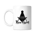 Know Thyself Square & Compass Masonic Coffee Mug - [11 oz.]