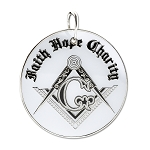 Faith Hope Charity Square & Compass Masonic Ornament - [White & Black][2 1/2'' Diameter]