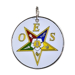 Order of the Eastern Star Round Masonic Ornament - [White & Gold][2 1/2'' Diameter]
