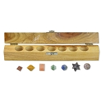 Platonic Solids Chakra 7 Piece Sacred Geometry Set with Gift Wood Box