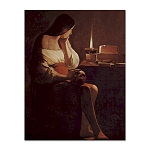 Mary Magdalene with Skull and Smoking Flame Postcard