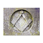 Carved Square & Compasses Masonic Postcard