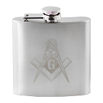 Laser Engraved Square & Compass Masonic 6 Ounce Flask