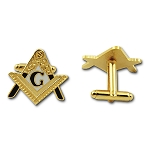 Entered Apprentice Square & Compass Masonic Cuff Link Pair - [White & Gold][1