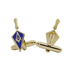 Trowel with Square & Compass Masonic Cuff Link Pair - [Blue & Gold][1