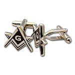 Square & Compass Silver & Black Masonic Cuff Link Pair - [3/4