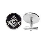 Square & Compass Round Masonic Cuff Link Pair - [Silver & Black][3/4